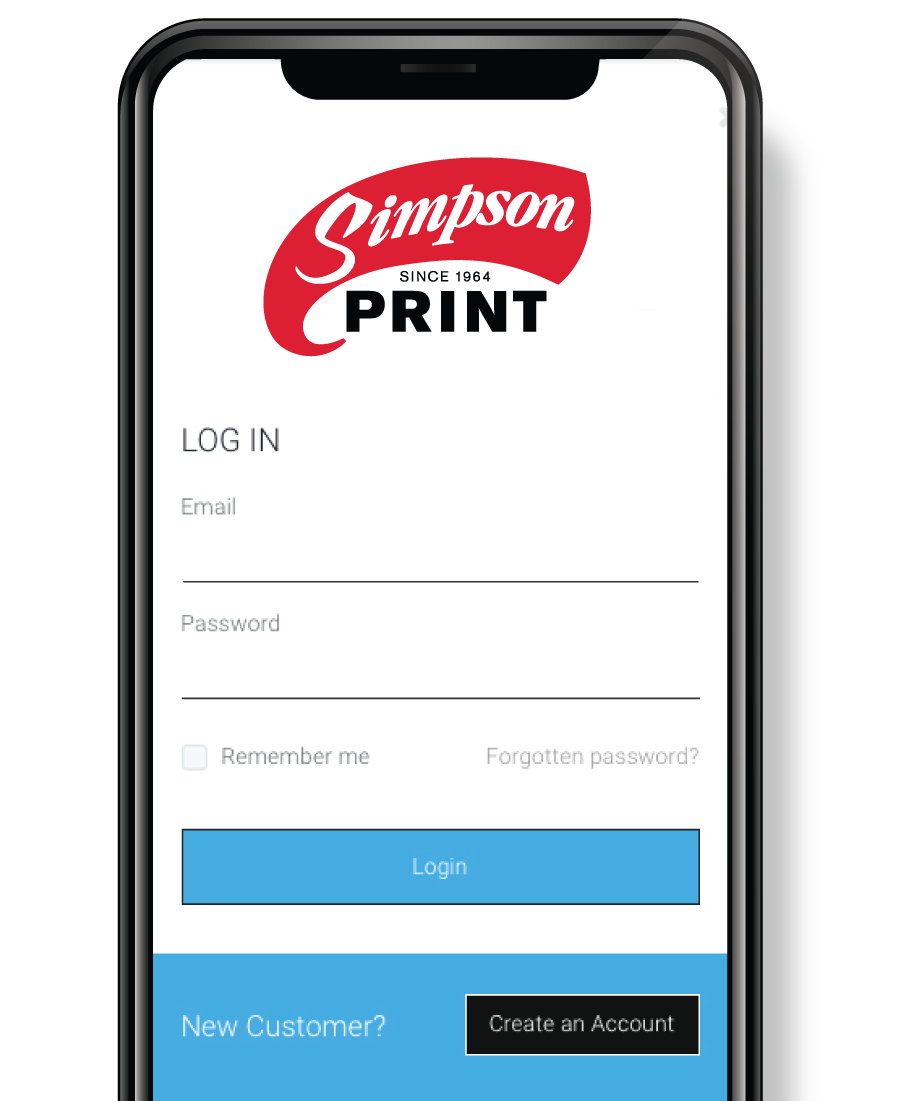 Simpson Print Web Portal Login Screen